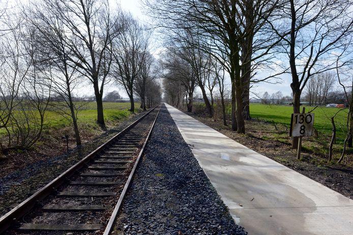 De spoorlijn van Nijmegen naar Kleef bij Groesbeek.