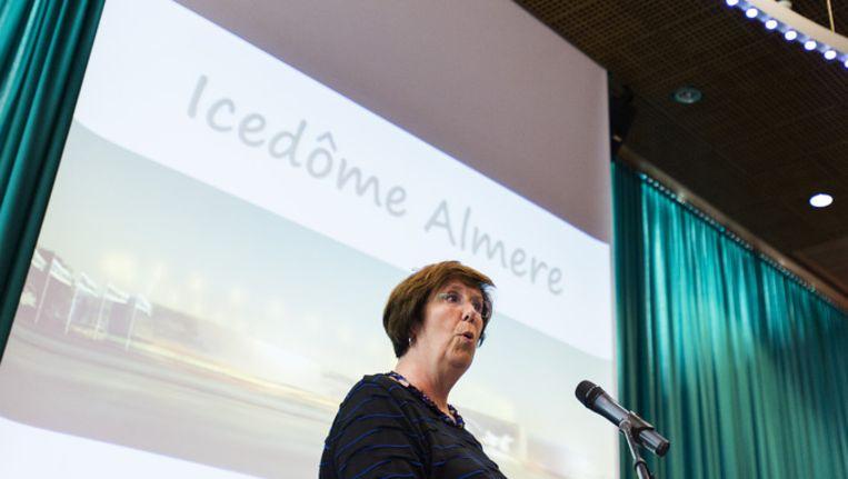 Burgemeester Annemarie Jorritsma van Almere tijdens de presentatie van de nieuwe Icedôme. Beeld anp