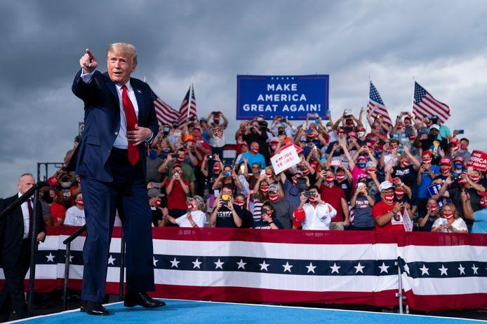 Trump tijdens een campagnerally voor de verkiezingen.