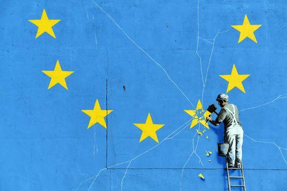 Een muurschildering van Banksy over de nakende brexit.