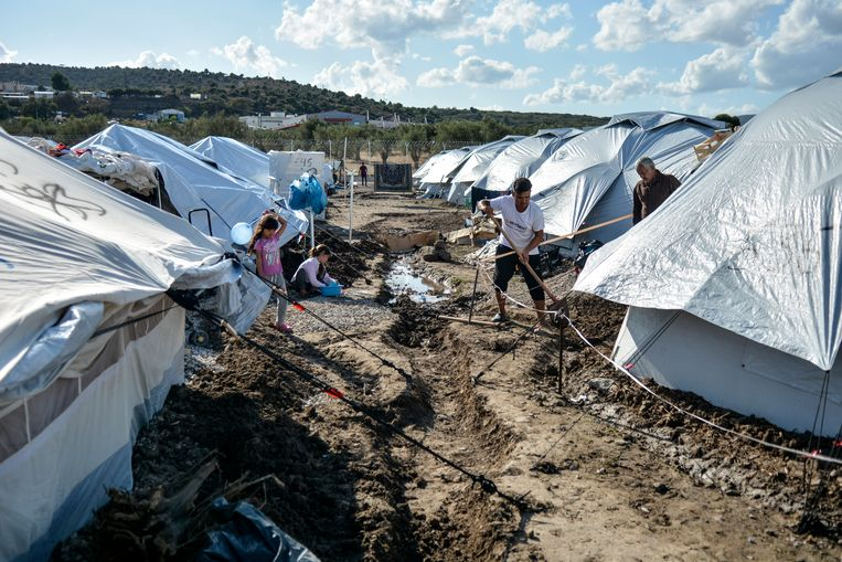 Vluchtelingenkamp Moria 2 op Lesbos. Beeld AP