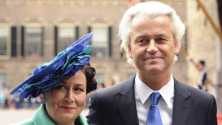 Tweede Kamerlid Geert Wilders (PVV) arriveert met zijn vrouw op Prinsjesdag op het Binnenhof Beeld ANP