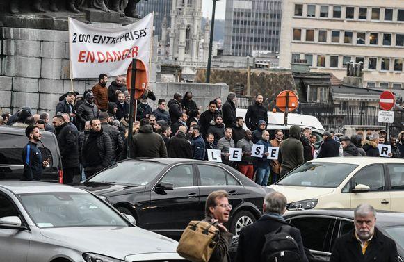 Manifestatie van LVC-chauffeurs (voertuigverhuur met chauffeur).   Brussels 14/01/2020 pict. by Bert Van den Broucke © Photo News