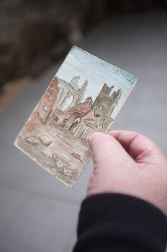 Een postkaart door een soldaat geschilderd.