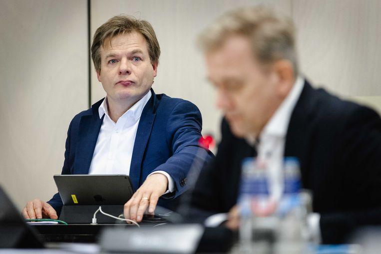 Pieter Omtzigt (CDA) in de Tweede Kamer tijdens een algemeen overleg over de toeslagenaffaire. Beeld ANP