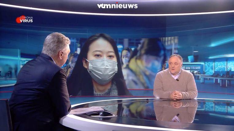 Een vertrouwd beeld: Marc Van Ranst in de studio van 'VTM Nieuws'. Beeld VTM