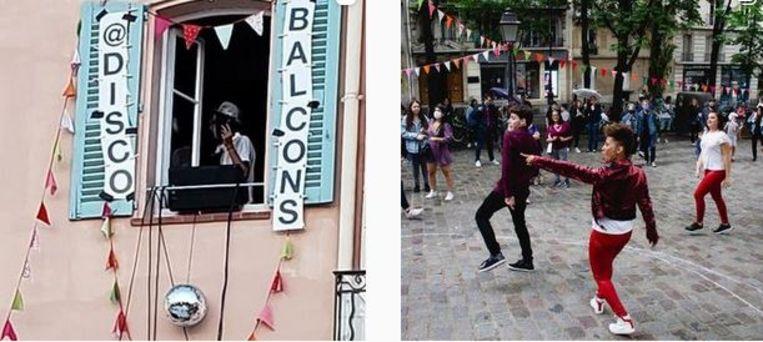 Op het plein voor het appartement van Disco Balcons ontstond dit voorjaar een spontaan straatfeest.  Beeld Instagram