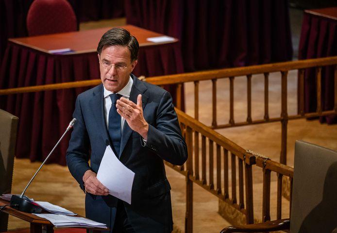 Premier Rutte bij het coronadebat in de Ridderzaal.
