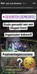 De Officier van Dienst van de Politie Deventer op Instagram.