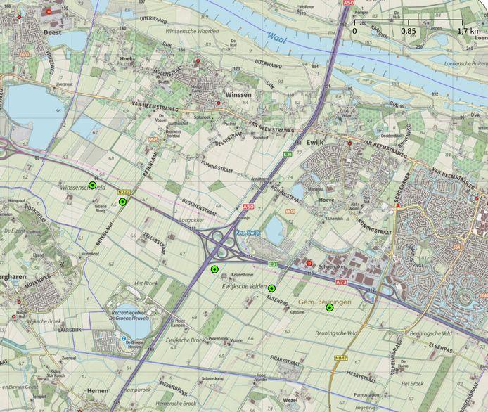 De definitieve plek van de vijf windmolens die Beuningen wil plaatsen langs de A73 en de Maas en Waalweg.