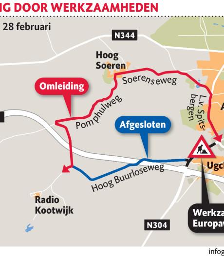 Verkeer tussen Radio Kootwijk en Apeldoorn moet flink omrijden