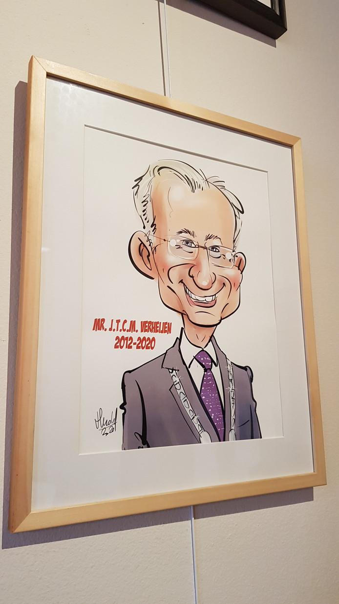 Hans Verheijen als cartoon in de Wijchense burgemeestersgalerij.