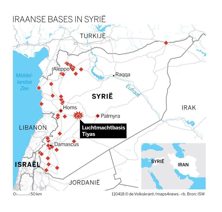 Iraanse bases in Syrië. Beeld