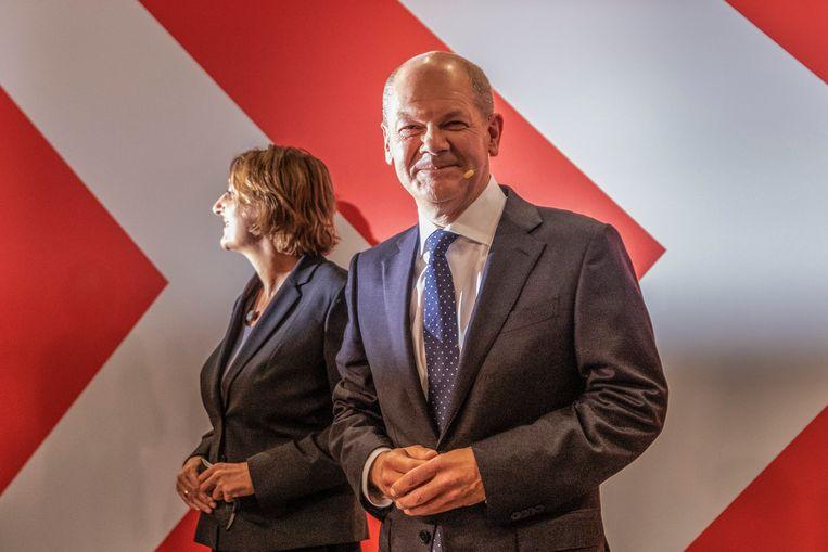 SPD-leider Olaf Scholz riep zichzelf al uit tot nieuwe kanselier. Beeld Photo News