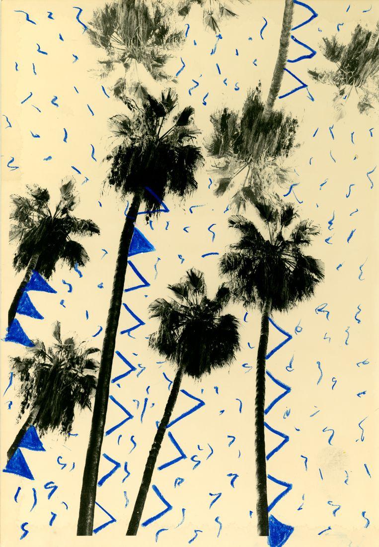 Een beeld van 'Paradis à vendre'. 'Ik schilder nu soms op de foto's.' Beeld Bruno Roels / Images courtesy of Gallery FIFTY ONE