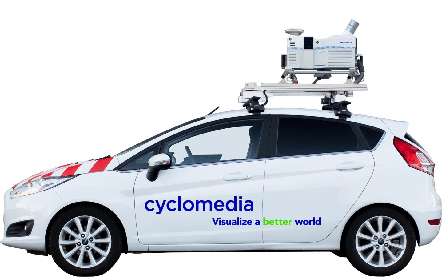 Met speciaal uitgeruste voertuigen maakt Cyclomedia 360 graden panoramafoto's vanaf de openbare weg.