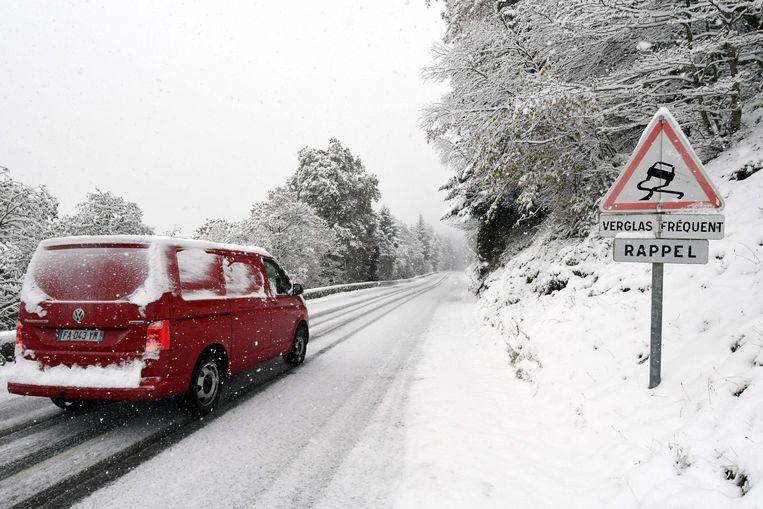 Sneeuw in La Mongie in het zuidwesten van Frankrijk.