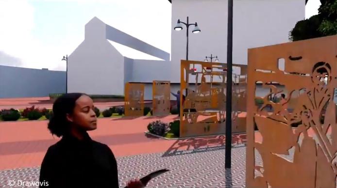 Beeld uit het animatiefilmpje van het toekomstige 'Plein van de Ambachten'.