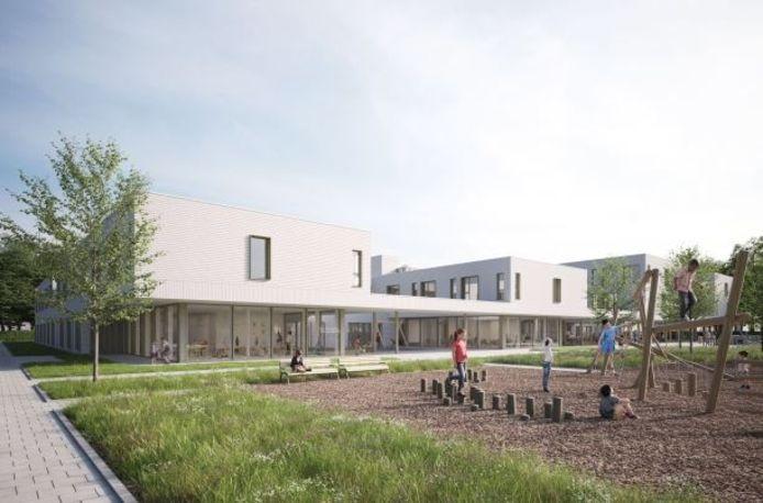Een zicht op het publiek park met speelruimte, vooraan het nieuwe woonzorgcentrum