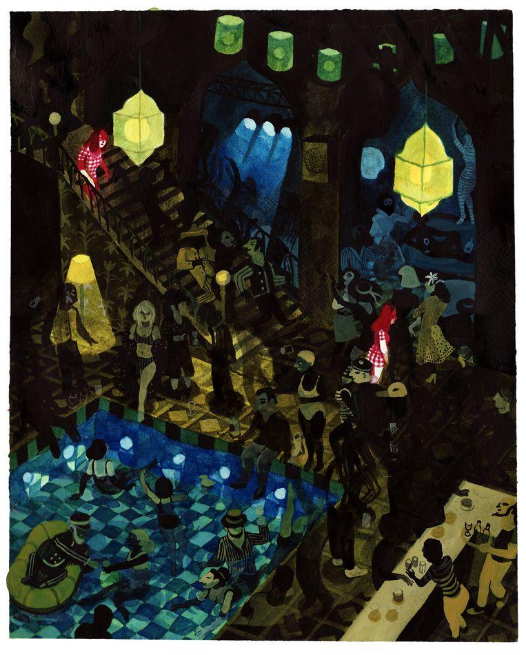 Deze illustratie komt uit het boek 'Ergens waar je niet wil zijn' van tekenaar Brecht Evens, verschenen bij Oogachtend (oogachtend.be) Beeld Brecht Evens