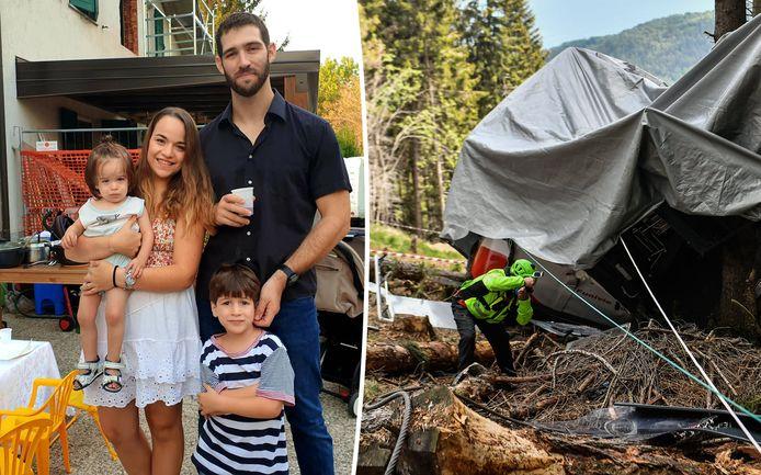Eitan (rechts onder) en zijn familie. Rechts een foto van de neergestorte kabelbaancabine.