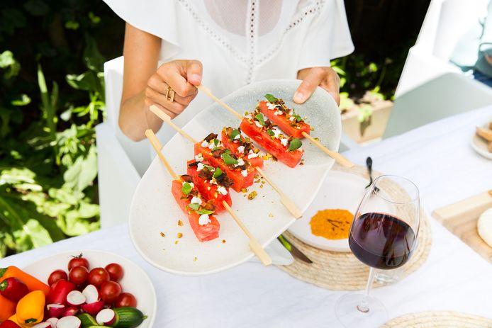 Watermeloenlolly's met spek en geitenkaas