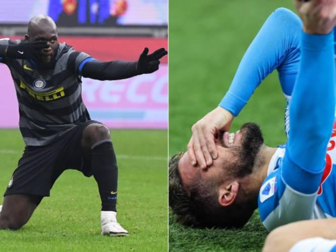 Mertens schreeuwt het uit van de pijn en valt uit met enkelblessure, Lukaku trapt Inter vanaf stip naar zege in topper