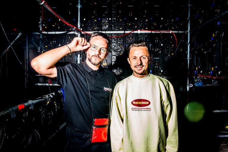 The Magician en Martin Solveig in de backstage van Tomorrowland. Beeld Stefaan Temmerman