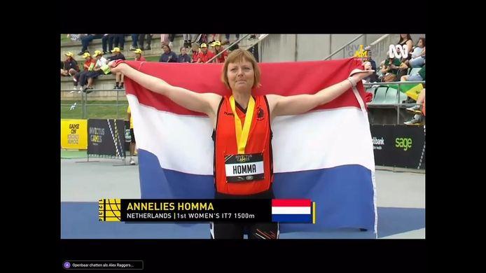Annelies Homma heeft een gouden medaille gewonnen op de 1500 meter tijdens de Invictus Games.