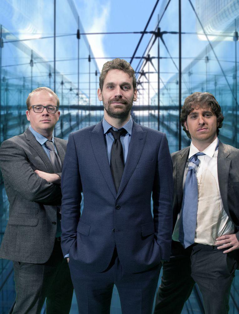 De heren van De Ideale Wereld: Sven Leijer, Otto-Jan Ham en Jelle De Beule. Beeld SBS Belgium