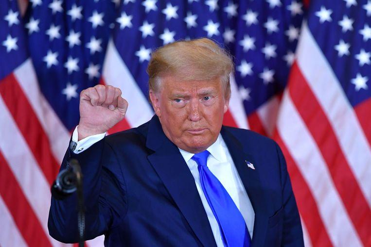 President Donald Trump tijdens zijn eerste speech na de stembusgang. Beeld AFP
