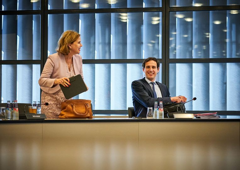 Ministers Wopke Hoekstra en Cora van Nieuwenhuizen. Beeld Hollandse Hoogte/ANP
