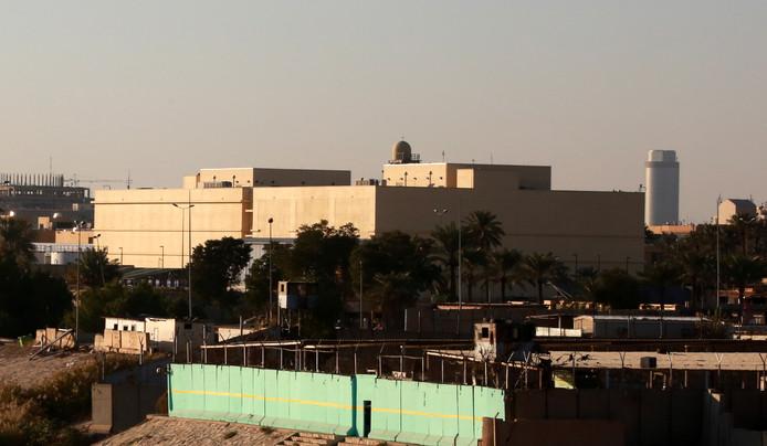 Het gebouw van de Amerikaanse ambassade in de Groene Zone van Bagdad.