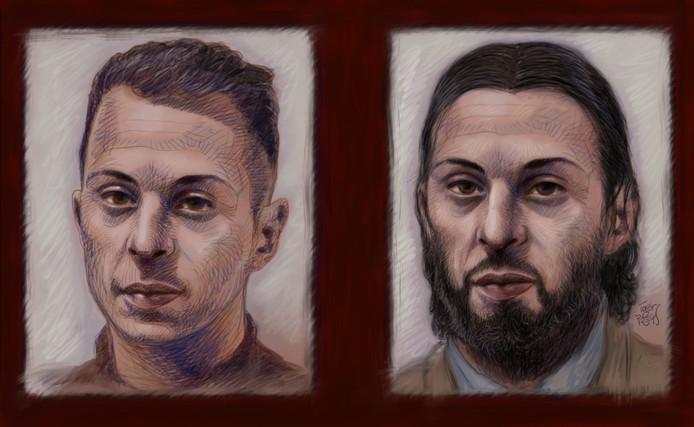 Salah Abdeslam op een eerdere portretfoto en hoe hij er nu uitziet.