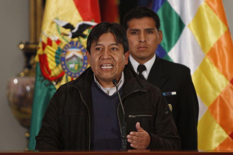 De Boliviaanse minister van Buitenlandse Zaken David Choquehuanca dinsdag tijdens een persconferentie in La Paz. Beeld ap