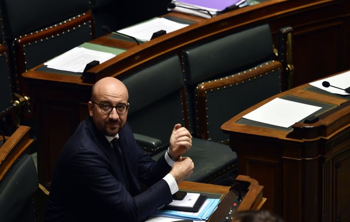 Belgian Prime Minister Charles Michel pictured during a plenary session of the Chamber at the Federal Parliament in Brussels, Thursday 14 December 2017. BELGA PHOTO ERIC LALMAND