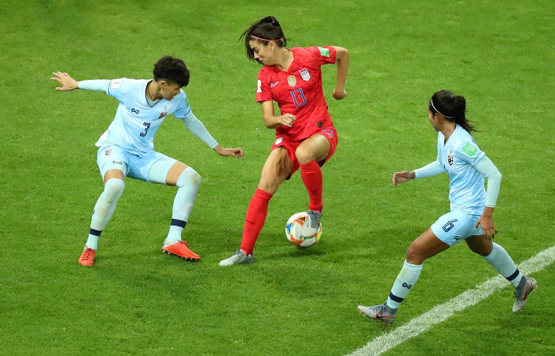 De wedstrijd VS - Thailand eindigde in 13-0. Het is vooralsnog de uitschieter van het toernooi. Beeld REUTERS