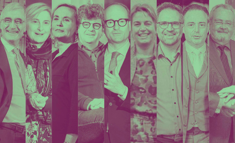Van links naar rechts: Geert Bourgeois, Hilde Crevits, Liesbeth Homans, Bart Tommelein, Ben Weyts, Joke Schauvliege, Koen Kennis, Bart De Wever en Marc Van Peel.  Beeld rv