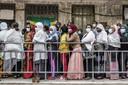 Ethiopische kiezers in de rij voor het stembureau.