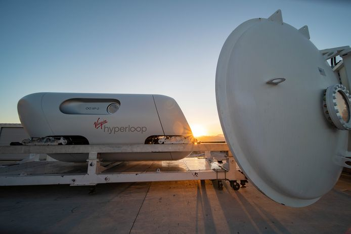 De Virgin Hyperloop-pod is te zien op de DevLoop-testsite in Las Vegas, Nevada.