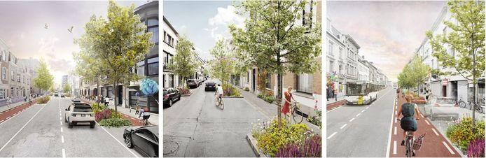 Een impressie van de toekomstige Leopoldstraat, Colomastraat en Consciencestraat.