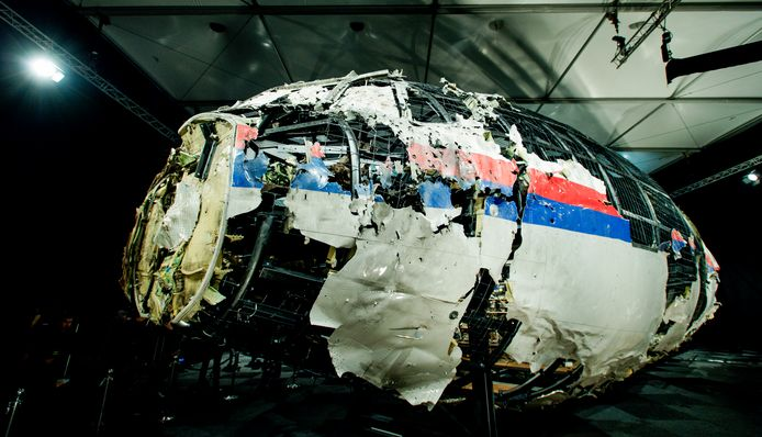 De reconstructie van een deel van de cockpit van MH17.