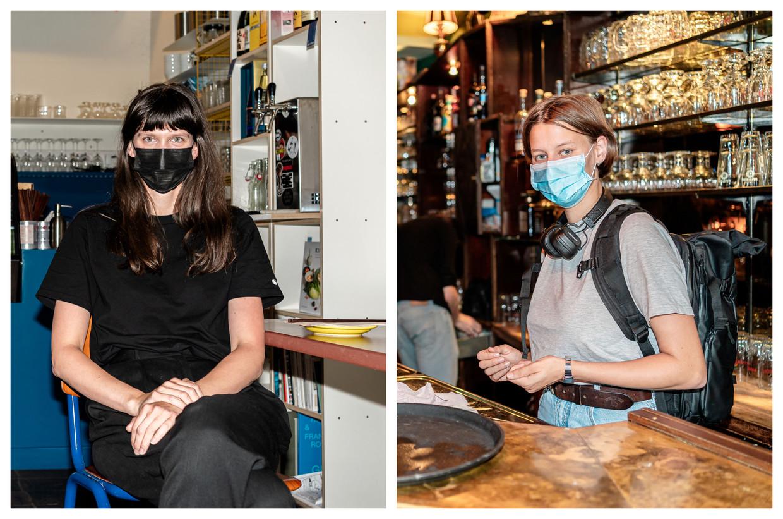 Lisa De Brouwere en Kim Delarea reageren op de mondmaskerversoepeling. Beeld Igor Van De Poel
