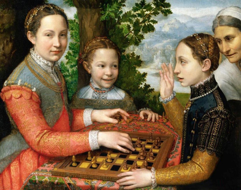 Omdat ze niet naar mannelijk model mocht tekenen, portretteerde Sofonisba Anguissola aanvankelijk veel familieleden, zoals haar zussen Lucia, Minerva en Europa in dit zeldzaam ontspannen potje schaak. Het schaakspel, 1555, Nationaal Museum, Poznan. Beeld Alamy