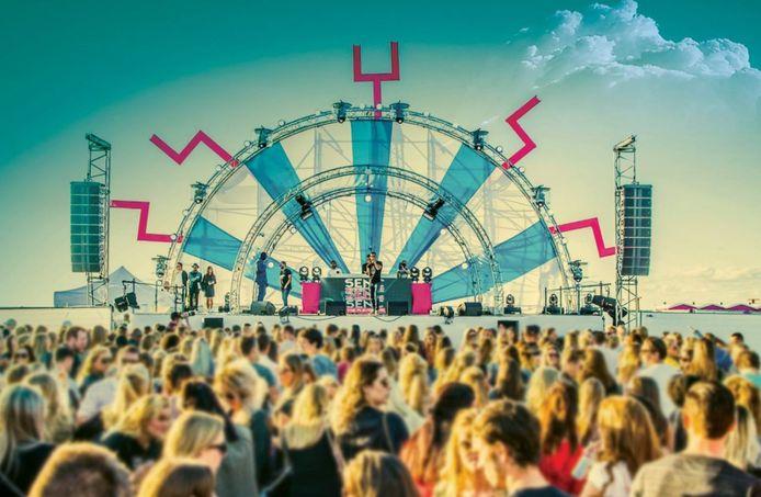 Het festival Senc Senc Senc op het strand van Hoek van Holland.