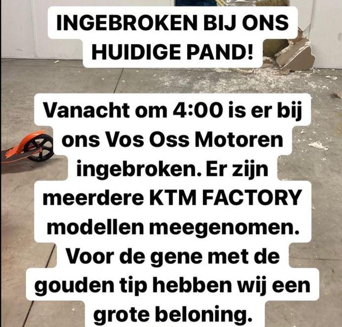 De oproep van Vos Oss op Facebook.