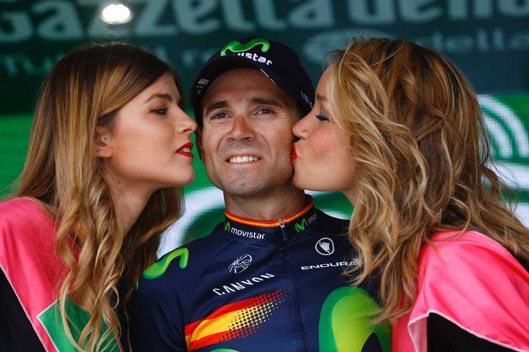 Valverde boekte zijn zevende zege van het seizoen, na ritwinst en eindwinst in de Ruta del Sol (2.1), twee ritten en de eindzege in de Ronde van Castilië en Leon (2.1) en een derde overwinning op rij in de Waalse Pijl (WT) Beeld AFP