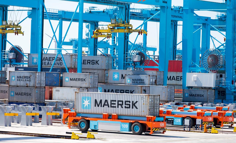 Containers van Maersk op de Tweede Maasvlakte. De Nederlandse export steeg in het tweede kwartaal van 2019 met 3 procent.