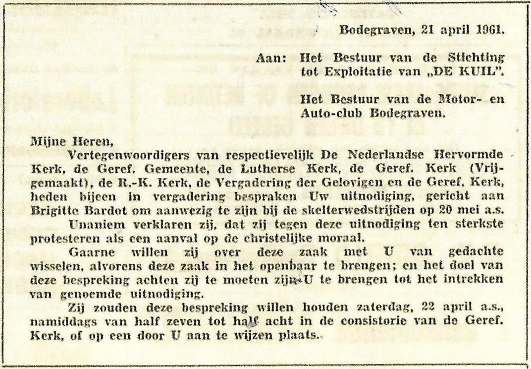 Brandbrief van de kerken in Bodegraven.