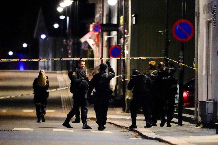 De politie in Kongsberg op zoek naar sporen. Beeld via REUTERS